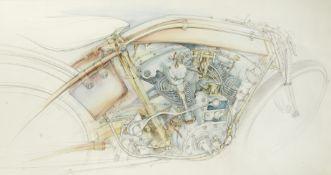 Bob Freeman (British 1947-2004), eight original motorcycle artworks, ((9))