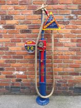 An early Vickers Armstrong one gallon hand-operated petrol pump,