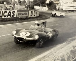Seven framed and signed Edward Eves motor racing photographs, ((8))
