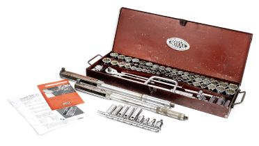 A complete Britool engineer's 1/2' square drive socket set, number 145B, 1966-1970,