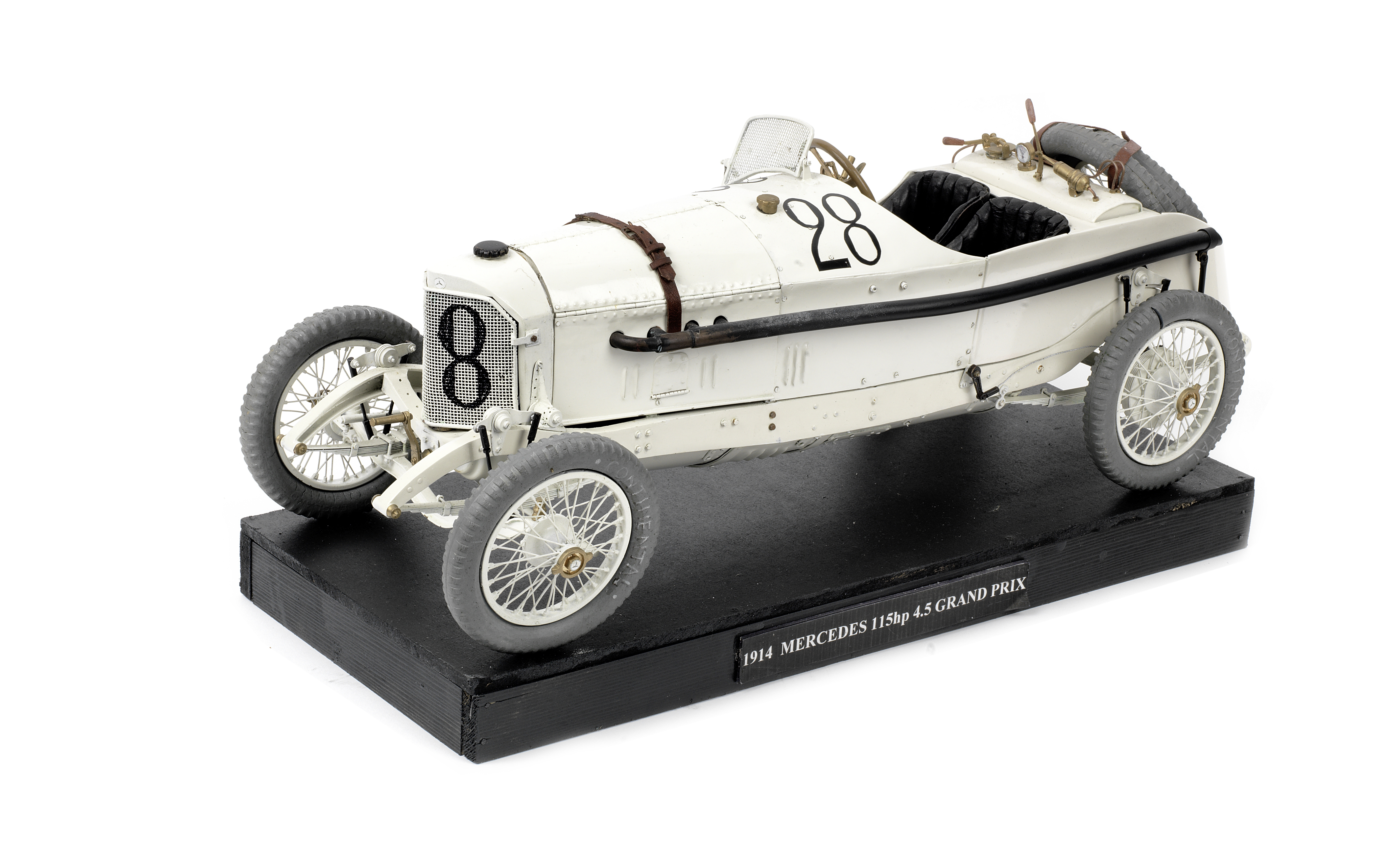 A 1:8 scale model of the 1914 French Grand Prix winning Mercedes,