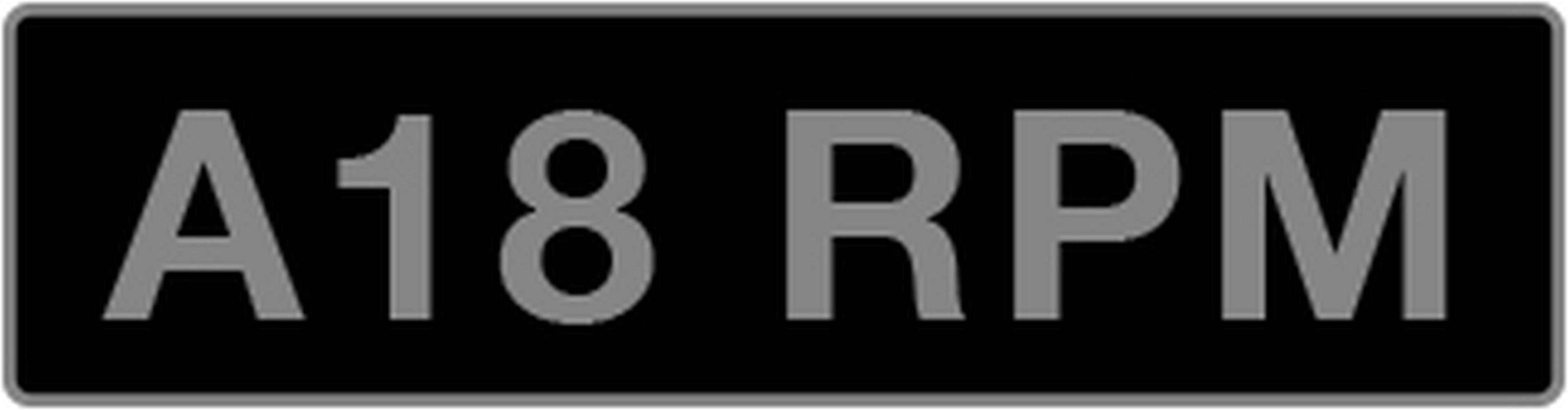 UK Vehicle Registration Number 'A18 RPM',