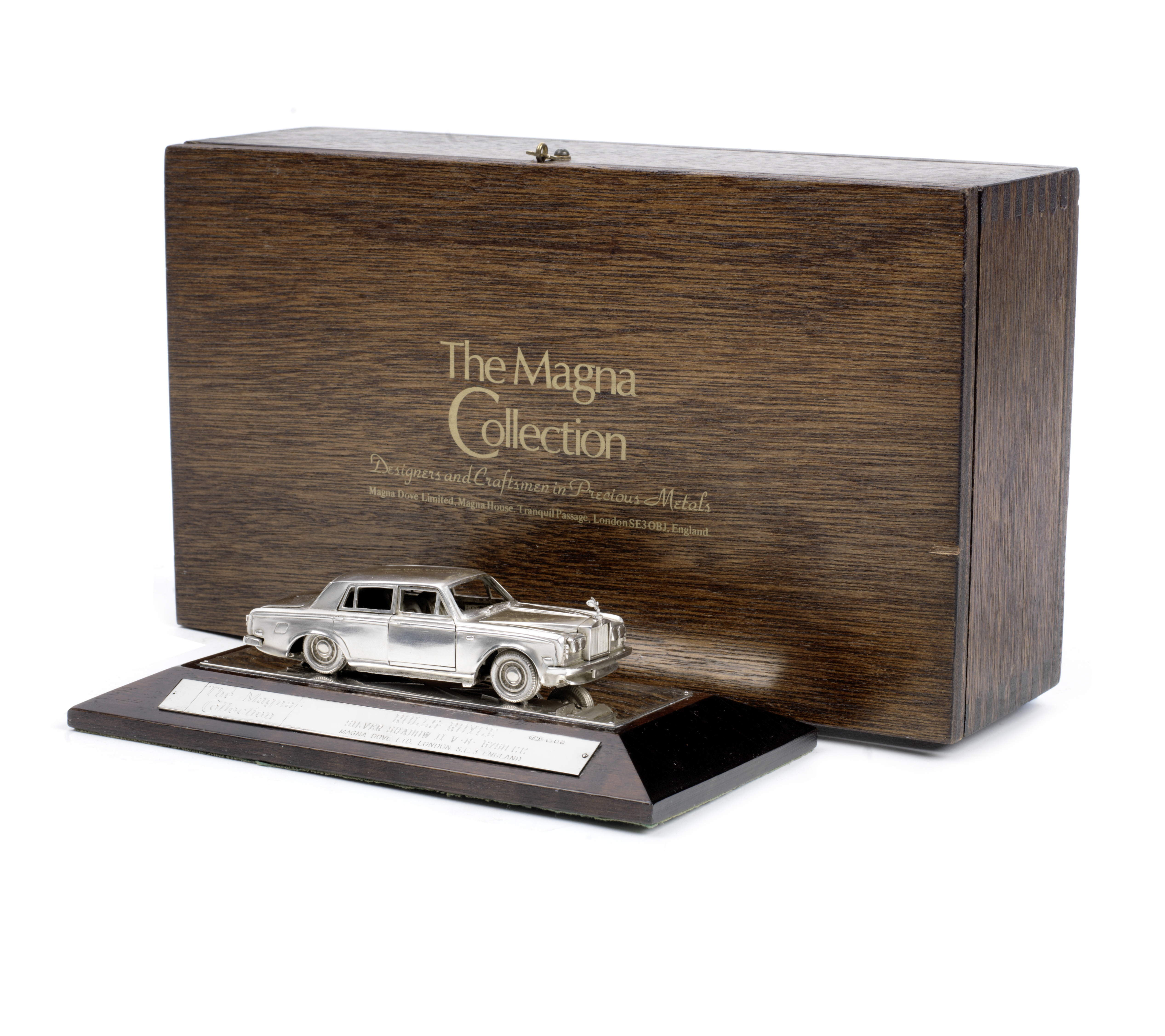 A 1:43 scale limited edition sterling silver model of a Rolls-Royce Silver Shadow II by Magna Dov...