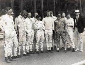 A Steve McQueen signed Le Mans film stunt drivers publicity image, ((12))