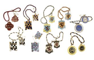 Nine 'pairs' of annual BARC Goodwood Member's and Guest's enamel lapel badges, 1957 and 1959-1966...