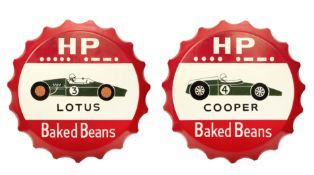 Two 'HP Baked Beans' hand-painted fibreglass garage display signs celebrating Cooper and Lotus ra...