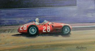 Rodney Diggens (British 1937-), 'Stirling Moss - Maserati 250F - Monaco GP 1956', an original art...