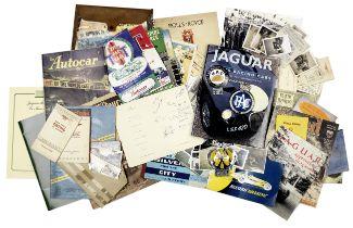 Assorted post-War racing memorabilia including a 1953 Jaguar Le Mans dinner menu signed by team d...