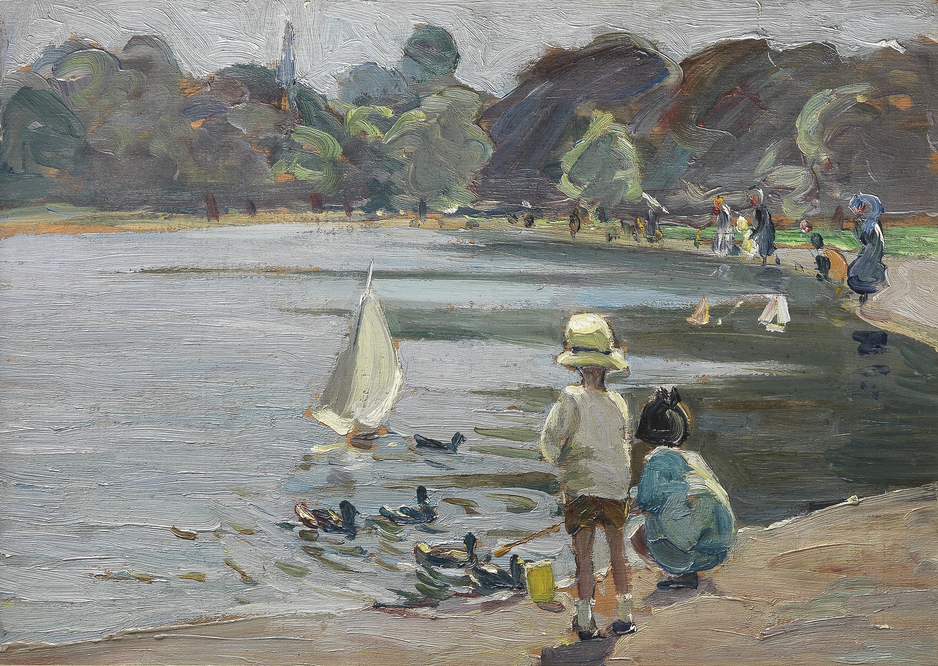Dorothea Sharp, RBA, ROI (British, 1874-1955) The Round Pond near Kensington Palace 25.4 x 35.5 ...
