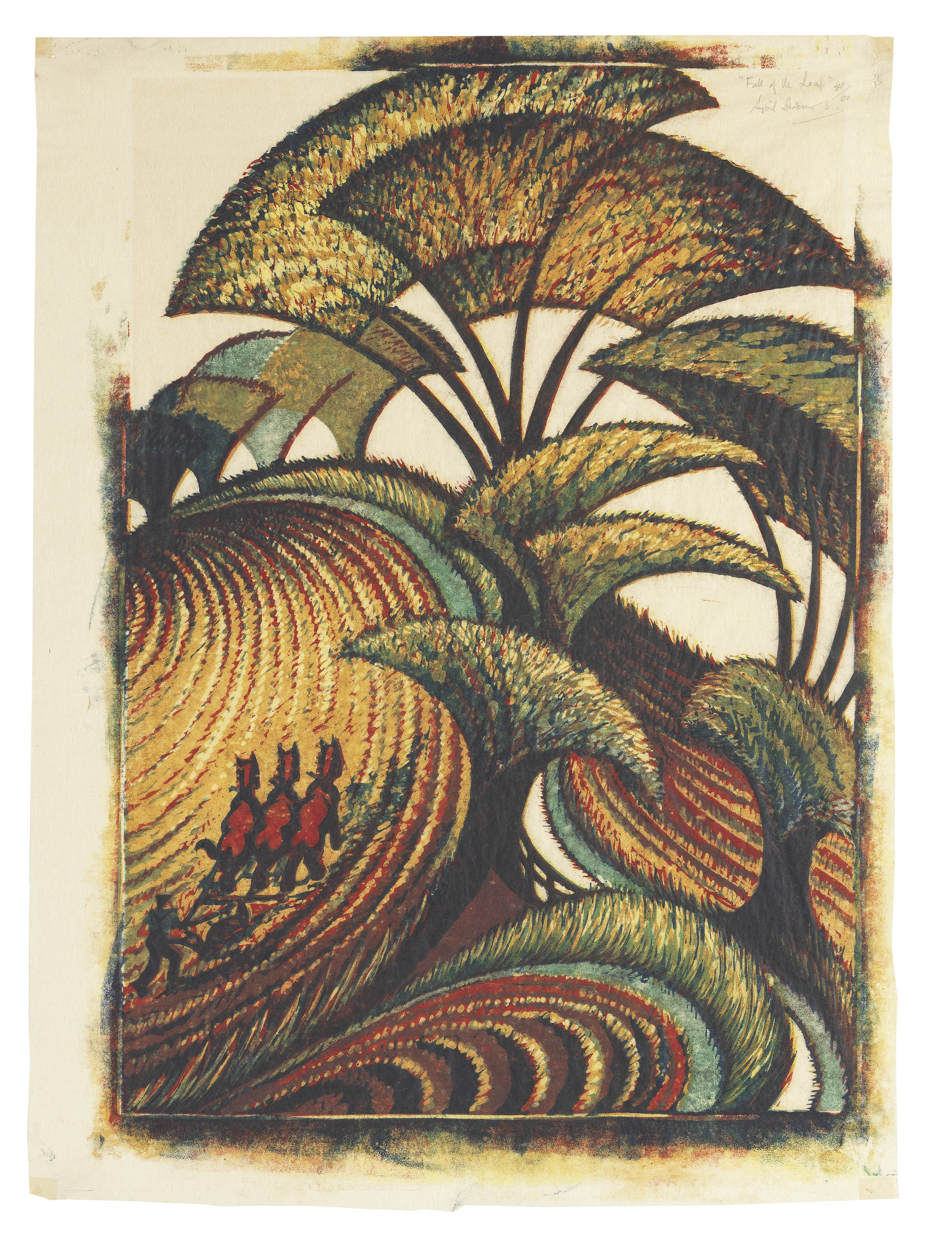 Sybil Andrews CPE (British/Canadian, 1898-1992) Fall of the Leaf 40.3 x 30.7 cm. (15 7/8 x 12 1/...