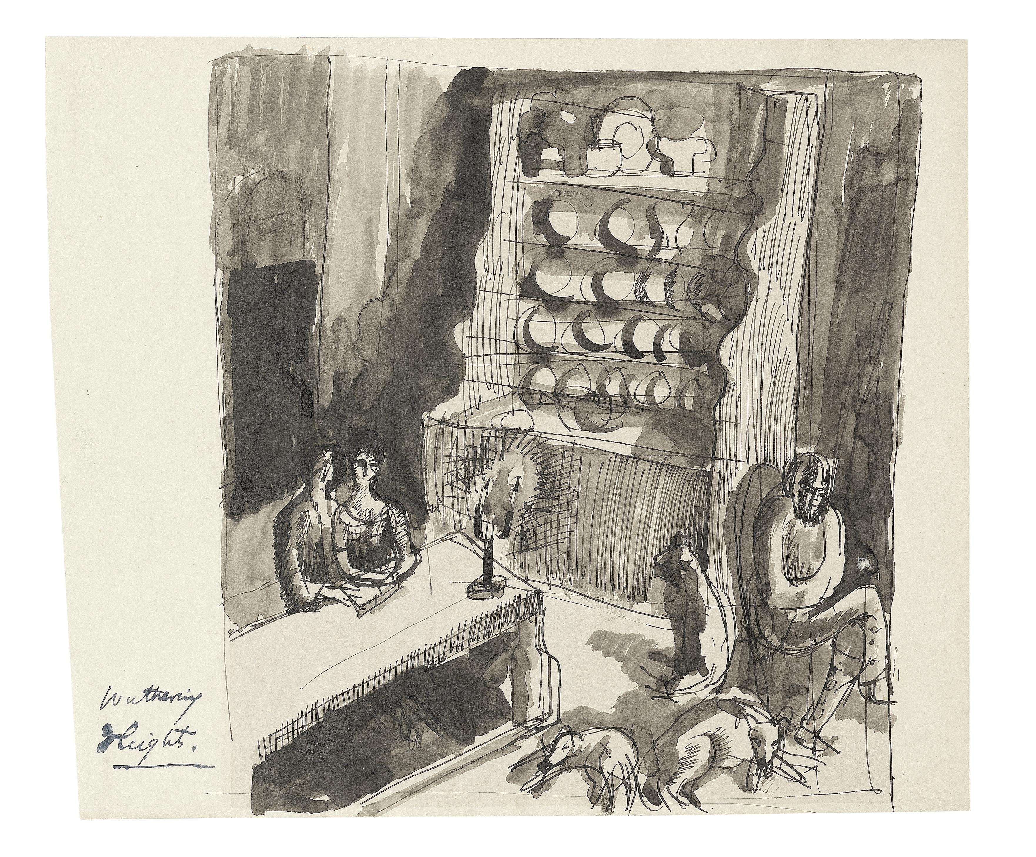 Dora Carrington (British, 1893-1932) Wuthering Heights, Interior 21.6 x 25.5 cm. (8 1/2 x 10 1/8 ...