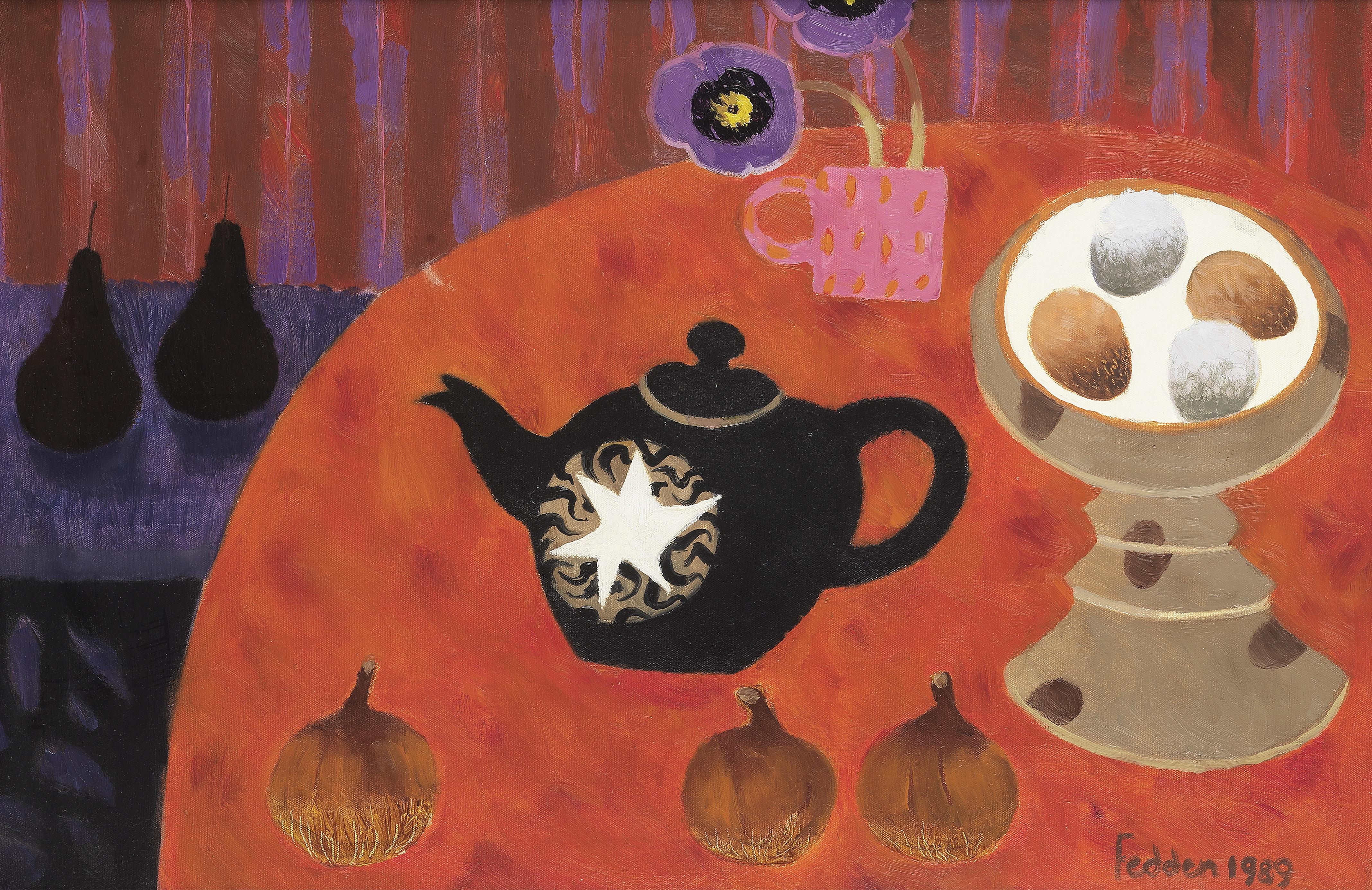 Mary Fedden R.A. (British, 1915-2012) Black Teapot 50.8 x 76.2 cm. (20 x 30 in.)