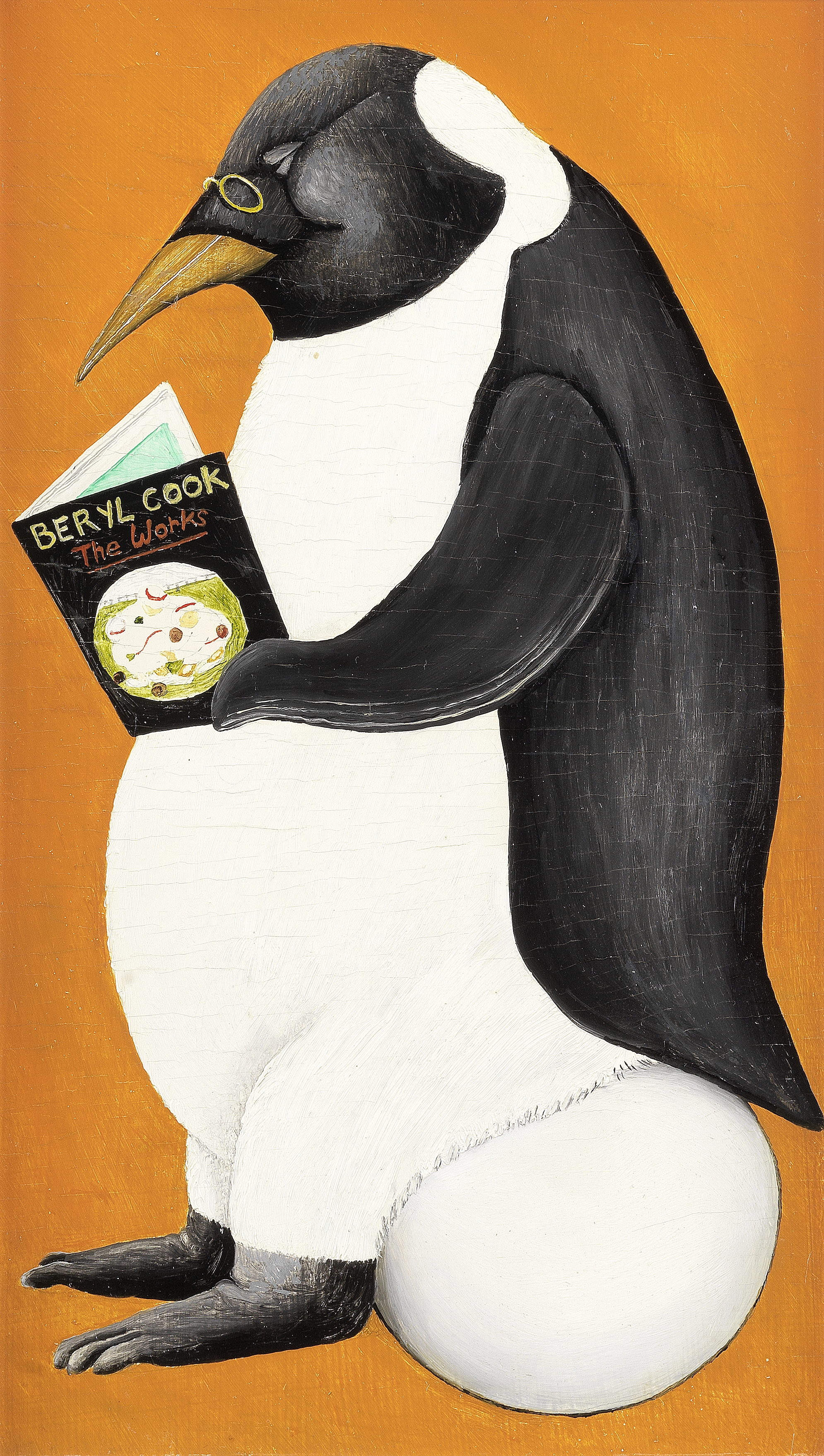 Beryl Cook O.B.E. (British, 1926-2008) Penguin Reading 33 x 20.3 cm. (13 x 8 in.) (Painted in 1985)