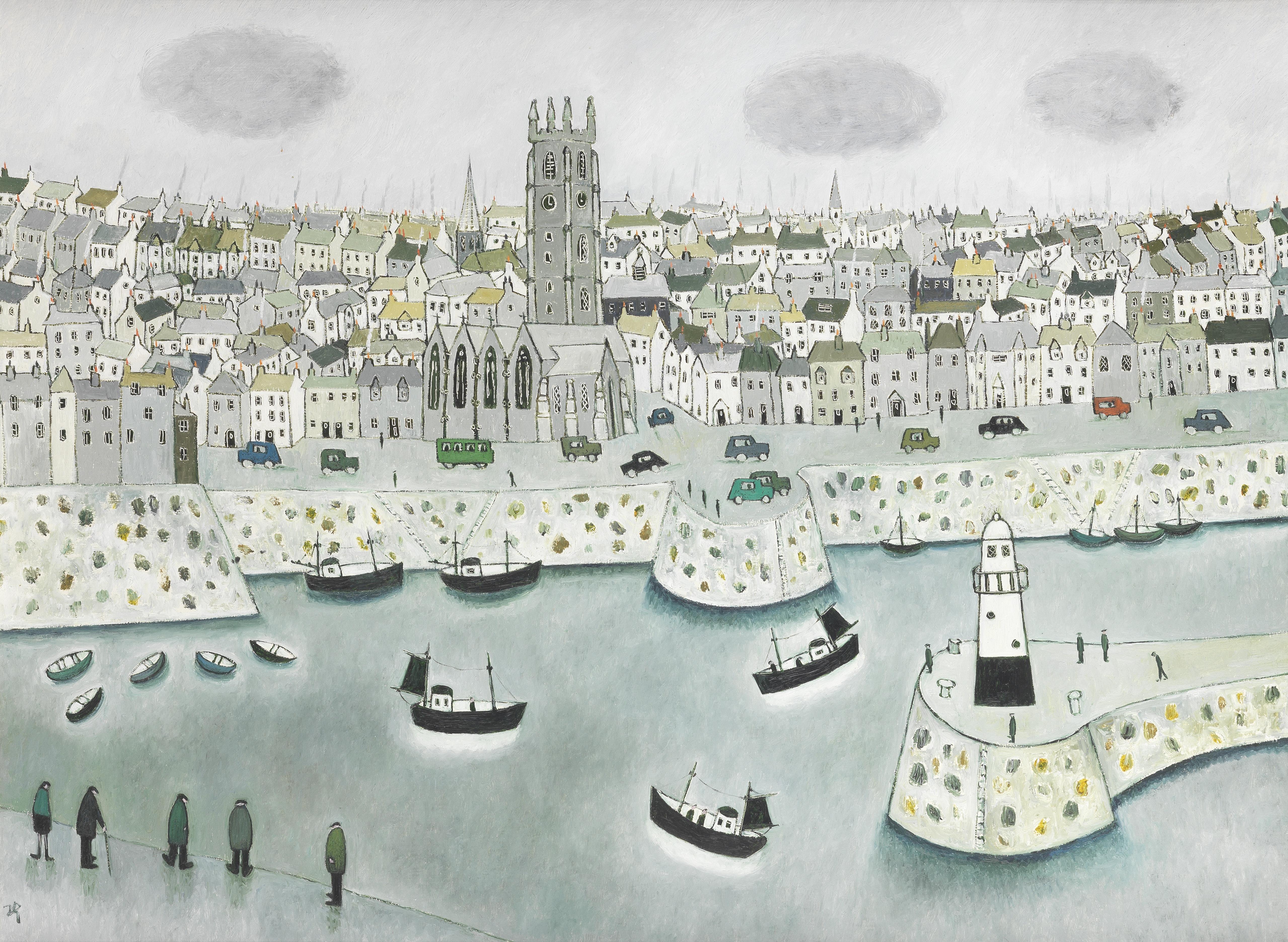 Joan Gillchrest (British, 1918-2008) St. Ives Harbour 50.8 x 68.6 cm. (20 x 27 in.)