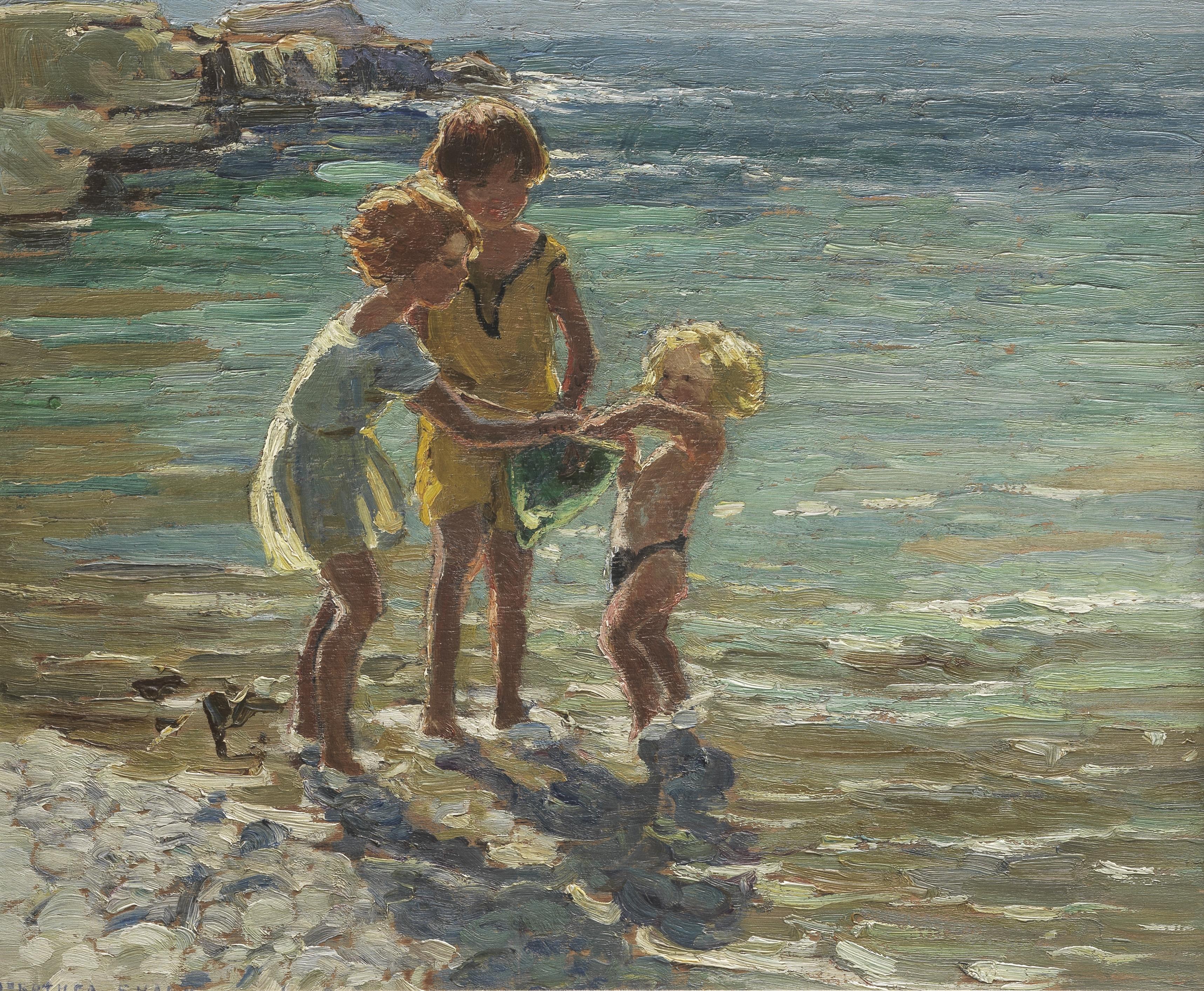 Dorothea Sharp, RBA, ROI (British, 1874-1955) Cornish Holiday 37.6 x 45.5 cm. (14 7/8 x 17 7/8 in.)