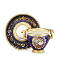 A Flight, Barr and Barr Worcester cabinet cup and stand by Thomas Baxter, circa 1814-16