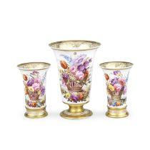 A garniture of three Spode vases, circa 1815-20