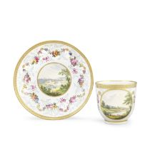 A Derby coffee cup and saucer by Zacahariah Boreman and William Billingsley, circa 1790