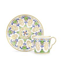 Three Pinxton coffee cans and saucers, circa 1800
