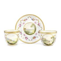 A Derby teacup, coffee cup and saucer by Zachariah Boreman and William Billingsley, circa 1790