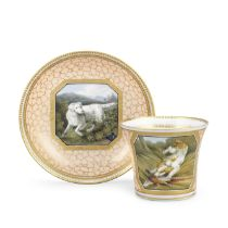 A Chamberlain Worcester cabinet cup and saucer, circa 1803-08