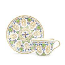 Three Pinxton teacups and saucers, circa 1800