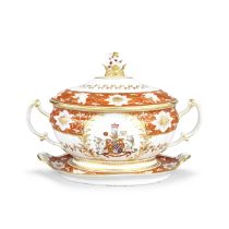 The Chamberlain Worcester soup tureen, cover and stand from the Abergavenny Service, circa 1813