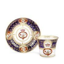 A Chamberlain Worcester coffee cup and saucer from the Abergavenny tea and coffee service, circa ...