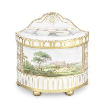 A large and rare English porcelain bough pot and cover, circa 1801-02