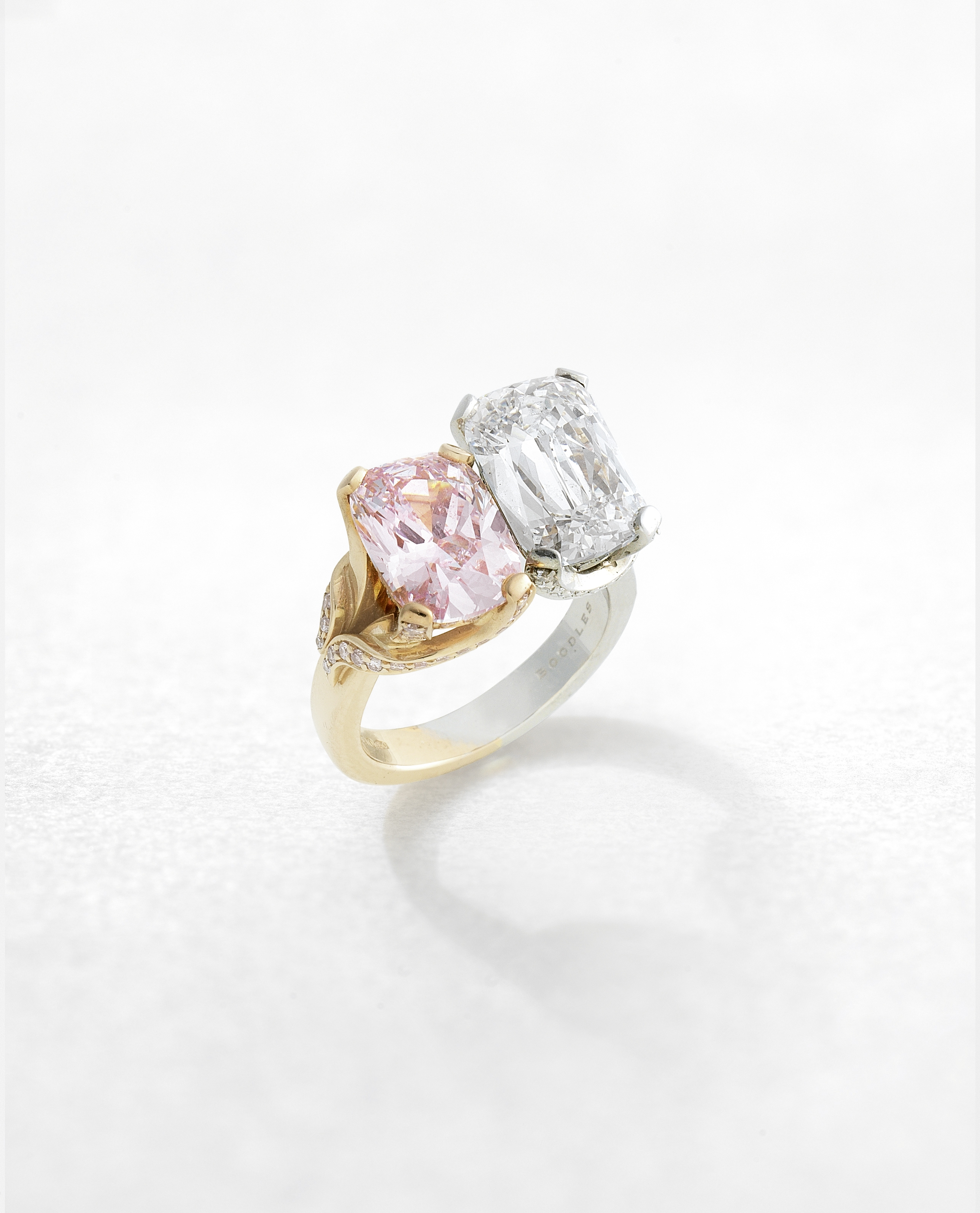 BOODLES: TWO-STONE FANCY COLOURED DIAMOND AND DIAMOND RING