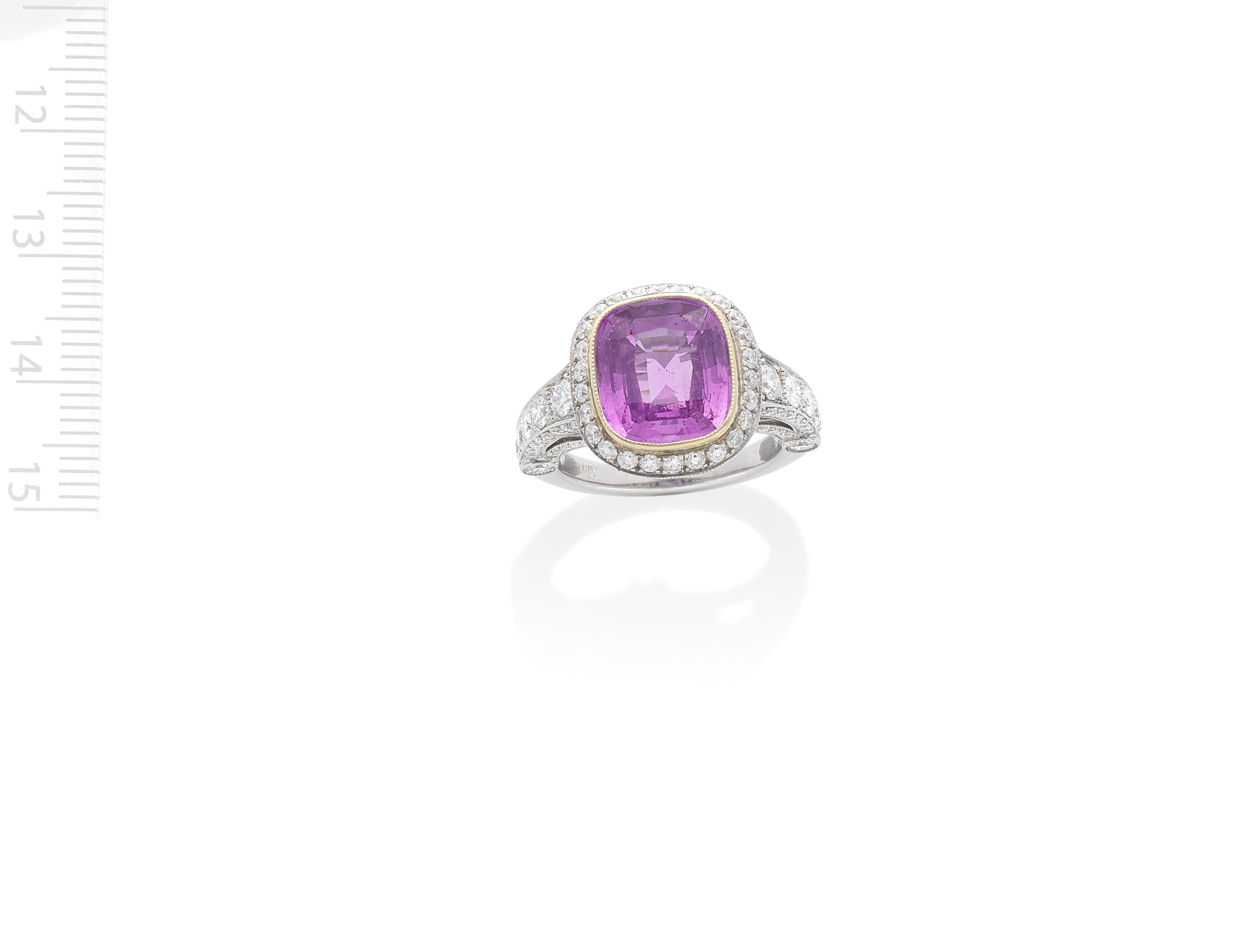 SIMON G: PINK SAPPHIRE AND DIAMOND RING