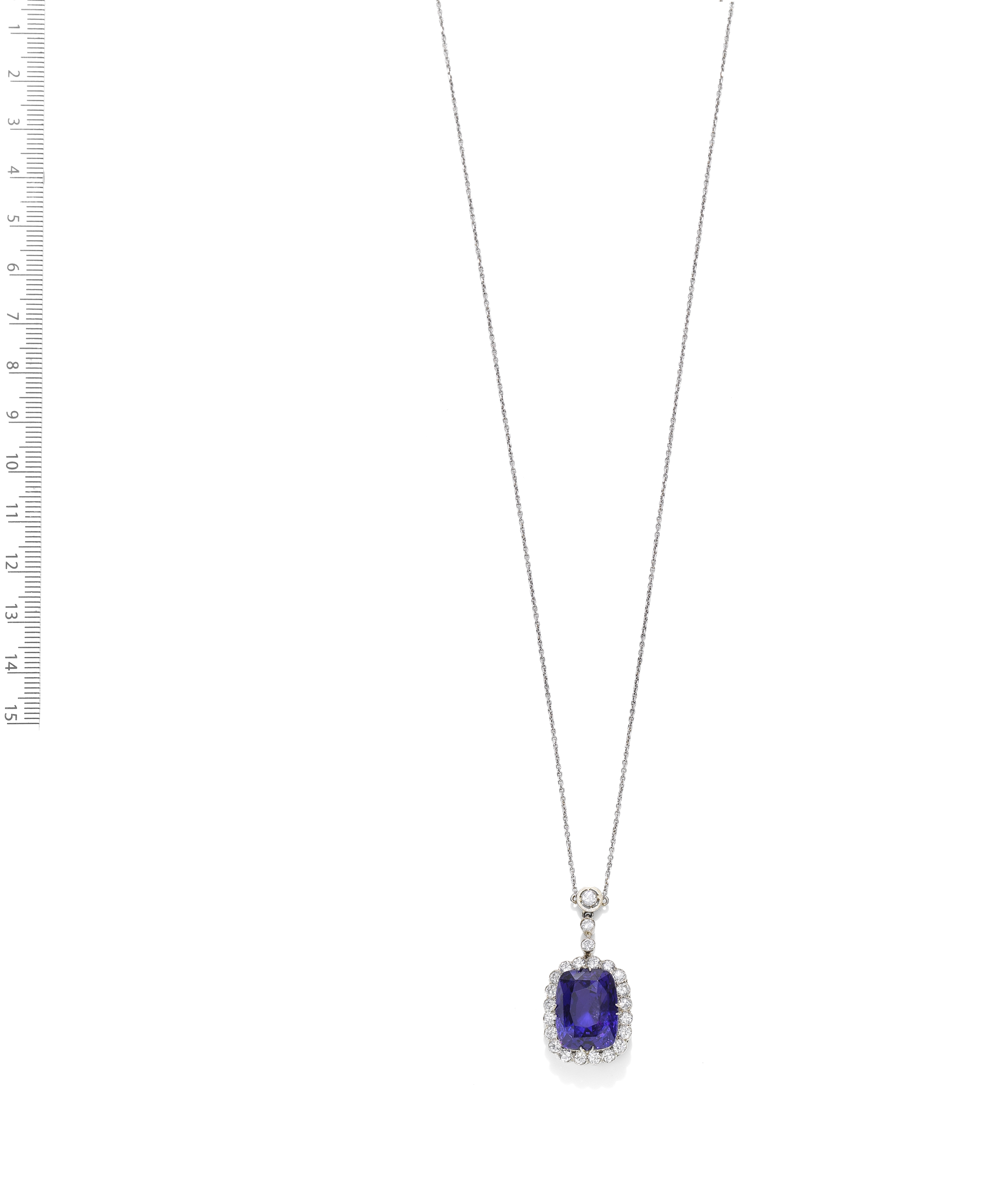 COLOUR CHANGE SAPPHIRE AND DIAMOND PENDANT, FIRST HALF OF THE 20TH CENTURY