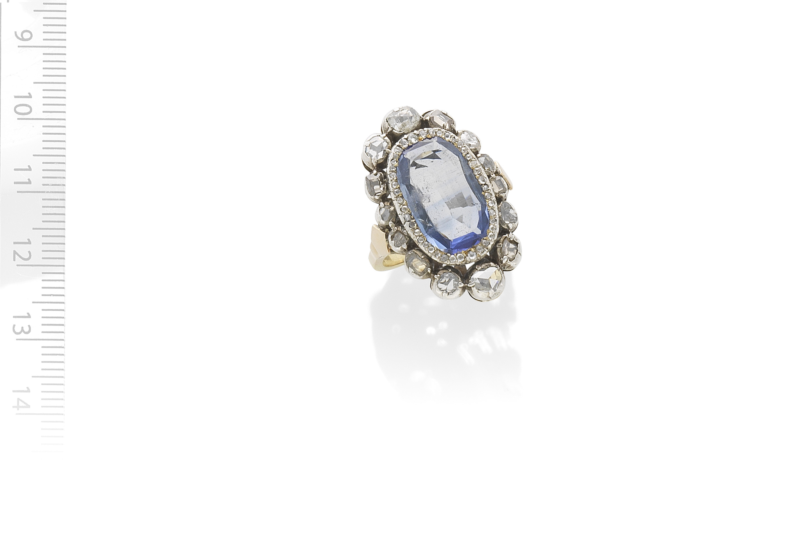 SAPPHIRE AND DIAMOND CLUSTER RING, 19TH CENTURY AND LATER