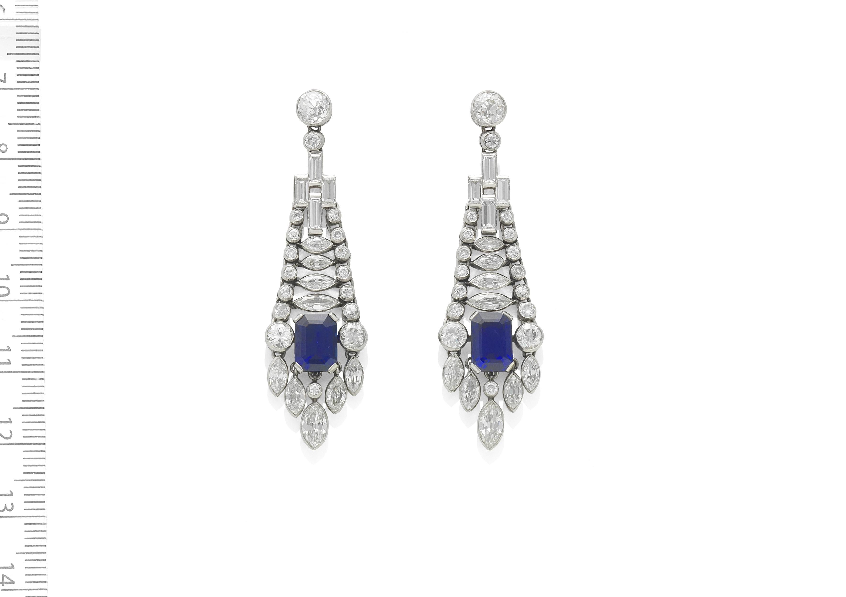 SAPPHIRE AND DIAMOND PENDANT EARRINGS