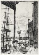 James Abbott McNeill Whistler (American, 1834-1903) Rotherhithe Etching and drypoint, 1860, on cr...