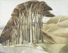 After Paul Nash (British, 1889-1946) Wood on the Downs Offset lithograph printed in colours, on w...