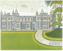 Edward Bawden R.A. (British, 1903-1989) Audley End House Linocut printed in colours, 1973, on wov...