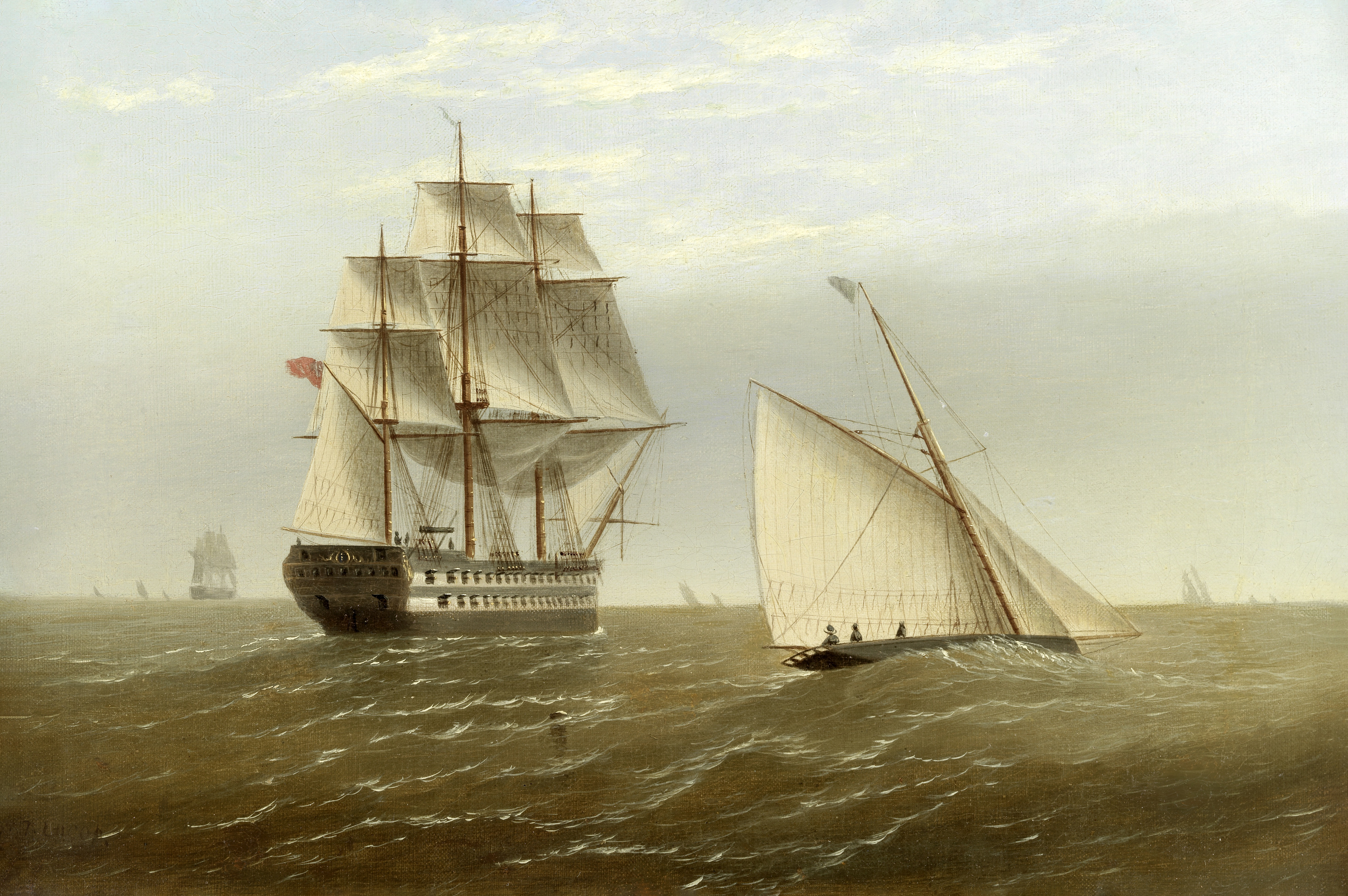 Thomas Lucop (British, active 1867-1907) A British two decker and a cutter in a breeze