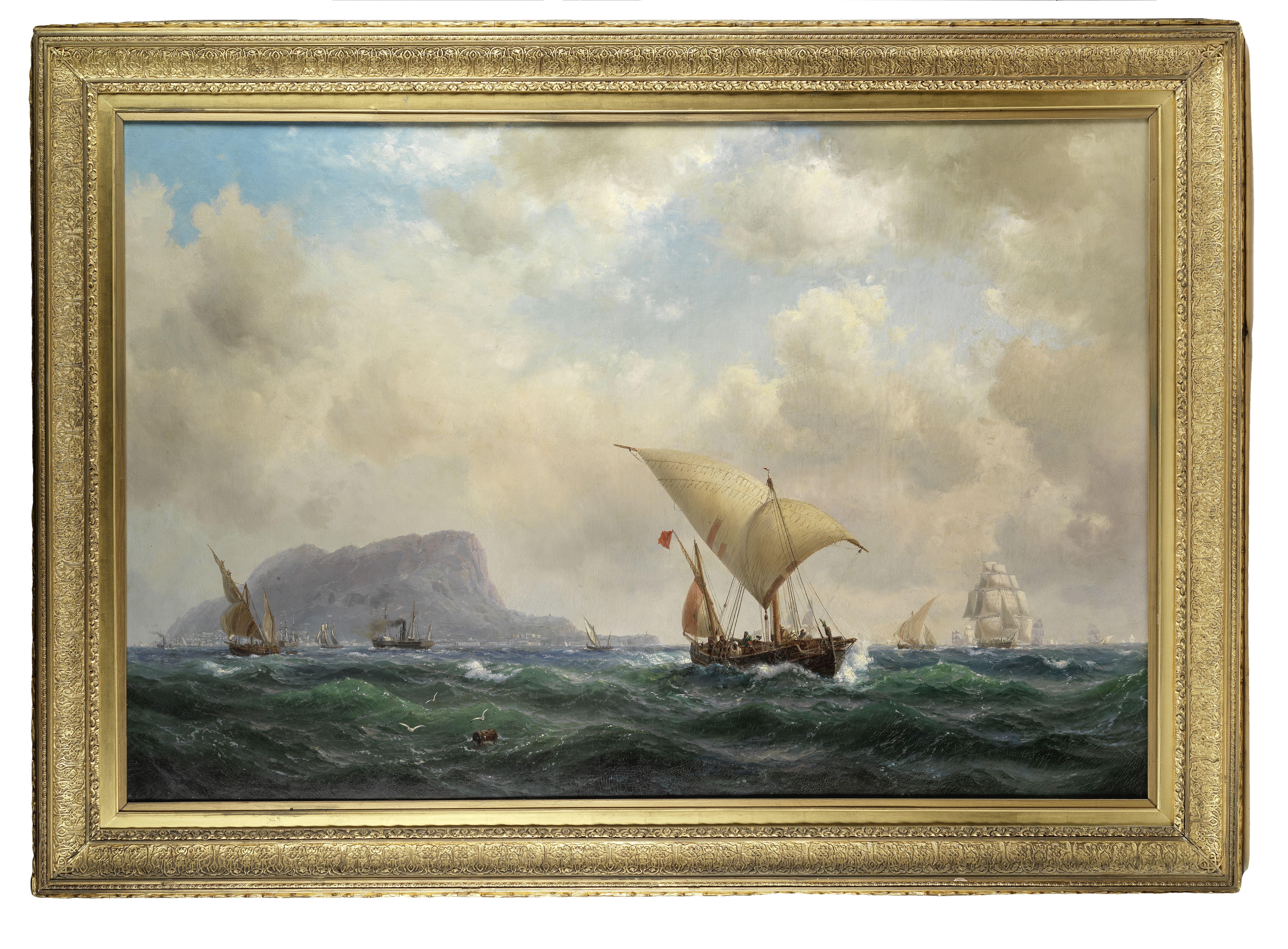 Vilhelm Melbye (Danish, 1824-1882) Shipping off Gibraltar