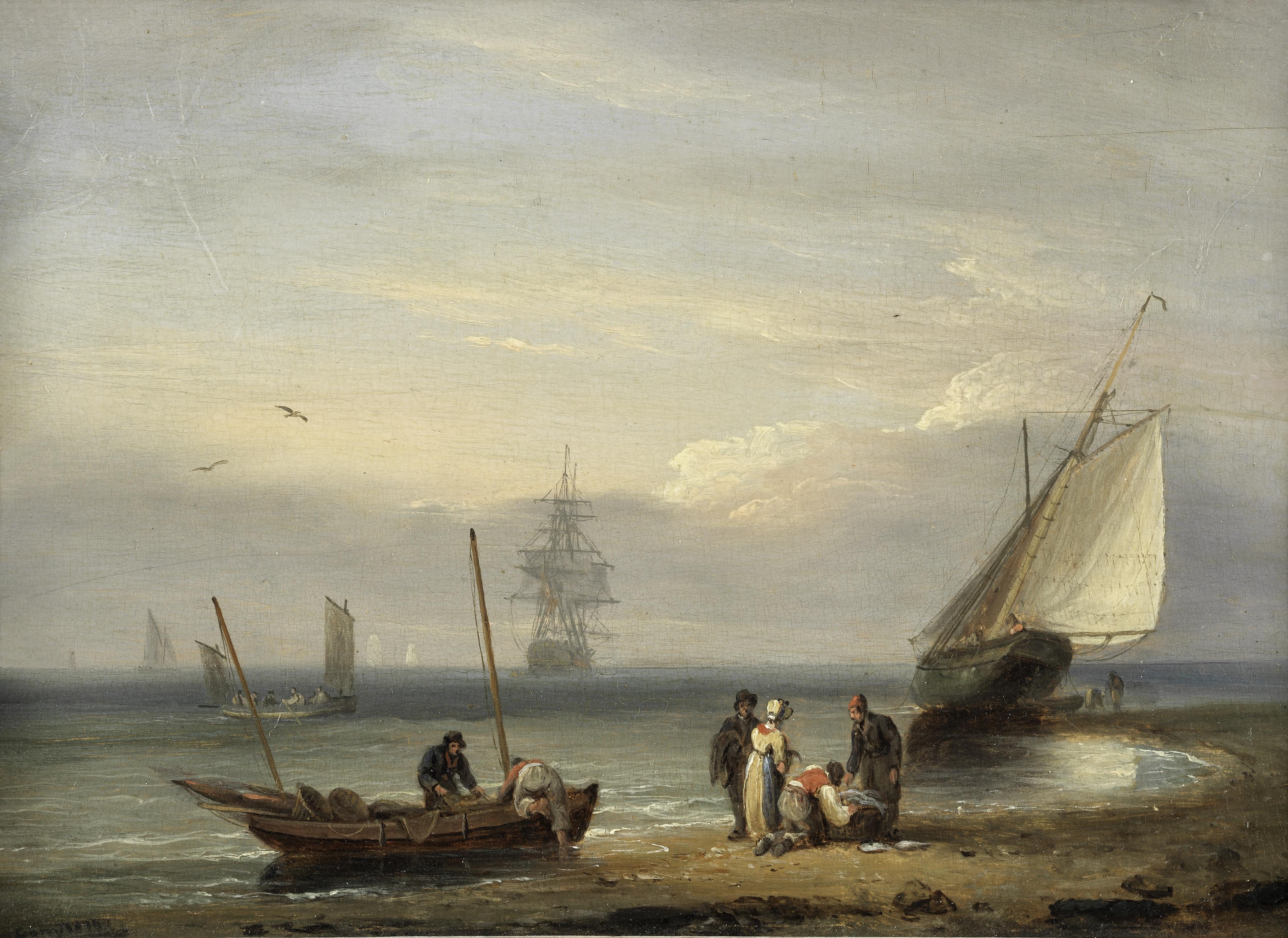 Thomas Luny (British, 1759-1837) Fisherfolk on the shore