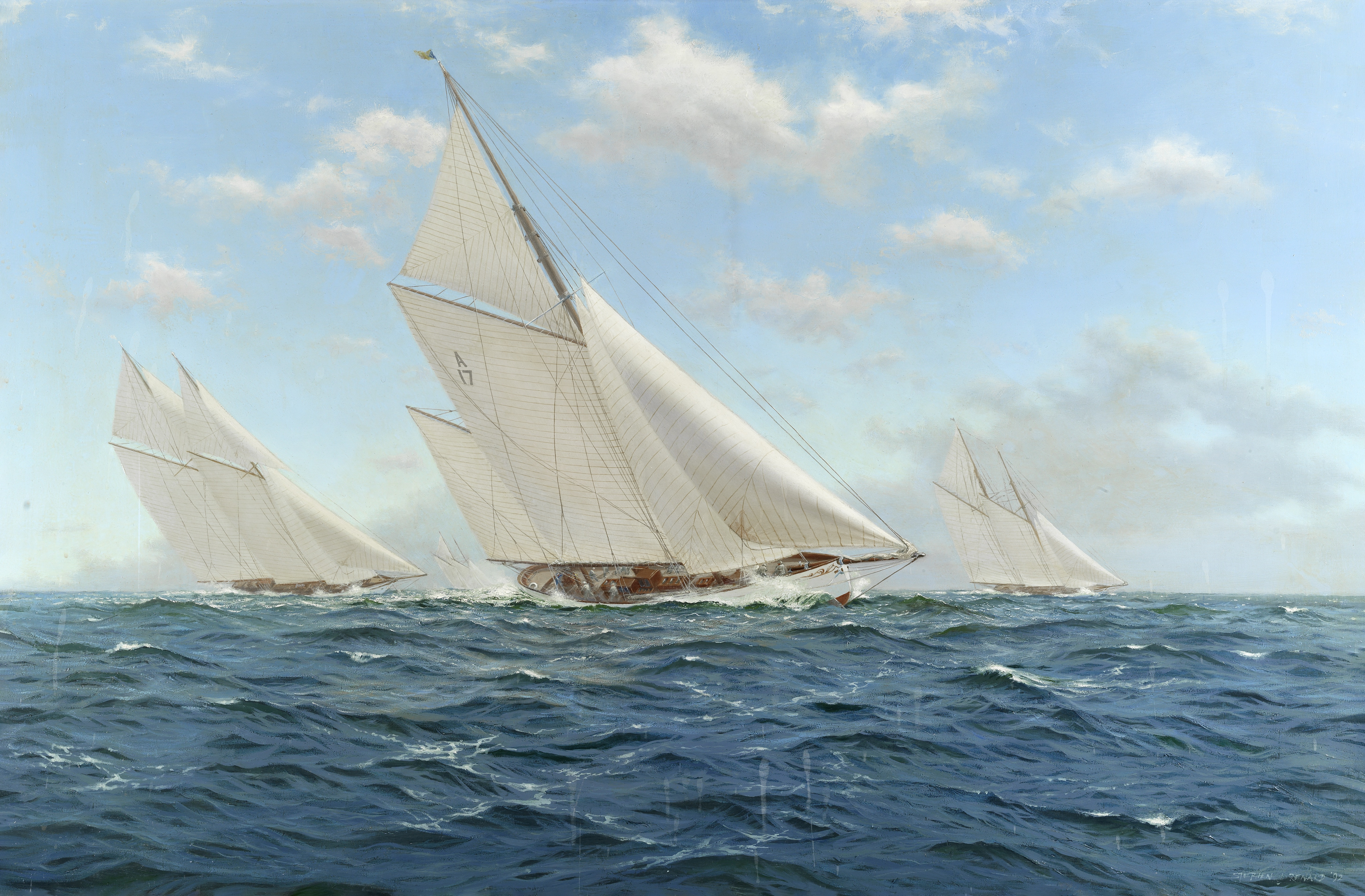 Stephen J. Renard (British, born 1947) Cariad Racing Meteor IV and Cetonia, King's Cup, 1911