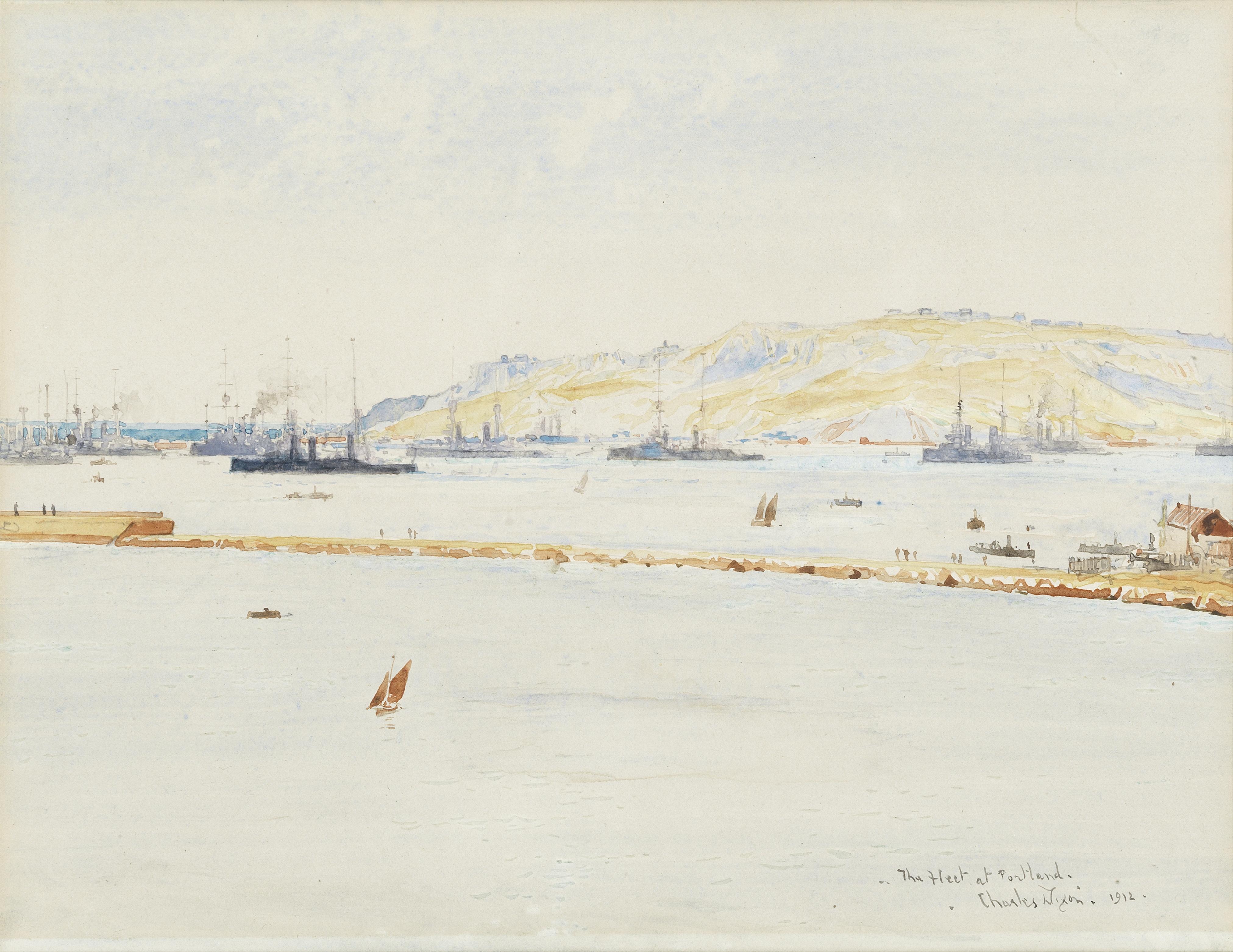 Charles Edward Dixon (British, 1872-1934) 'The Fleet at Portland', 1912