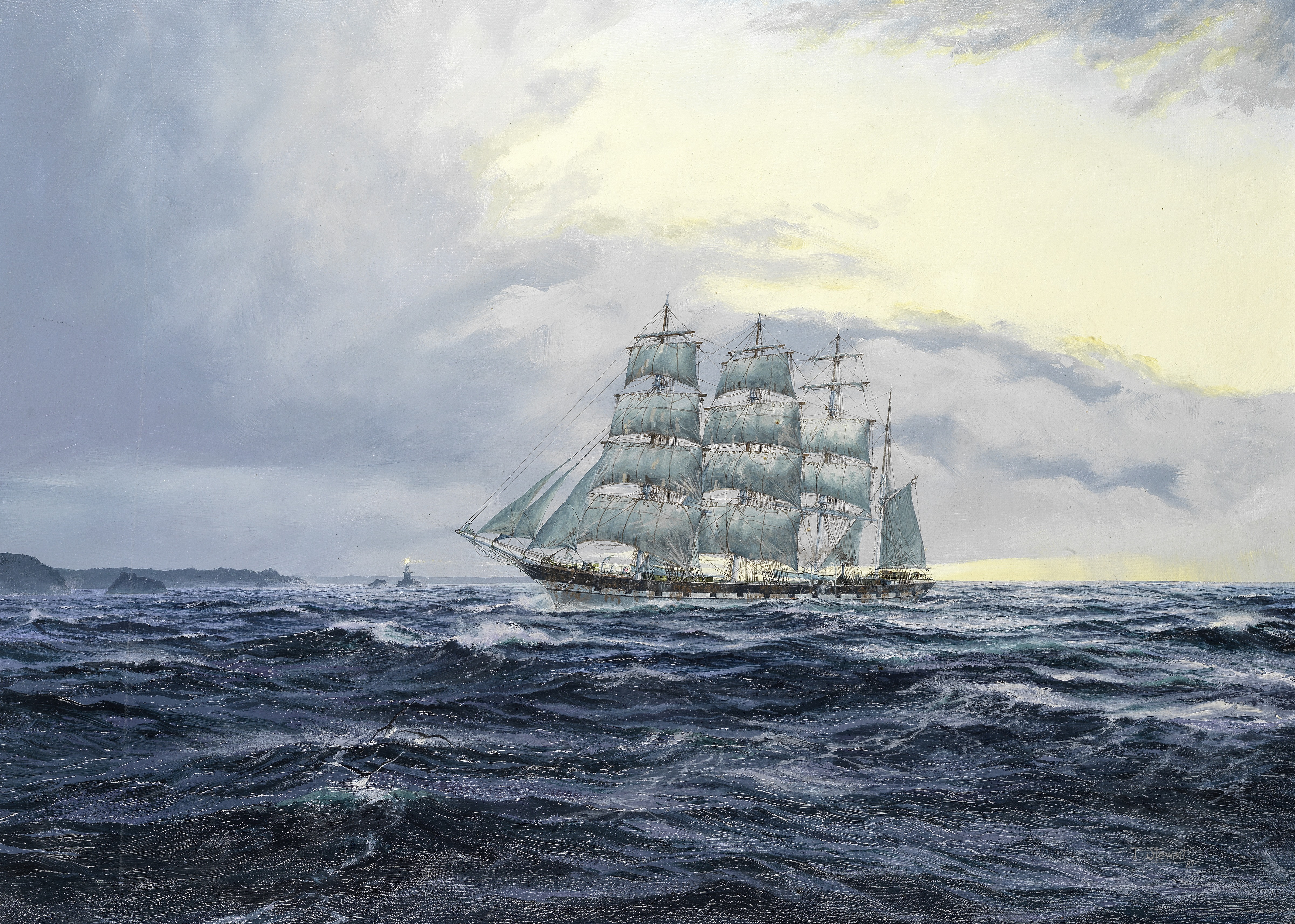 John Stewart (British, born 1948) A clipper returning into coastal waters after a long journey at...