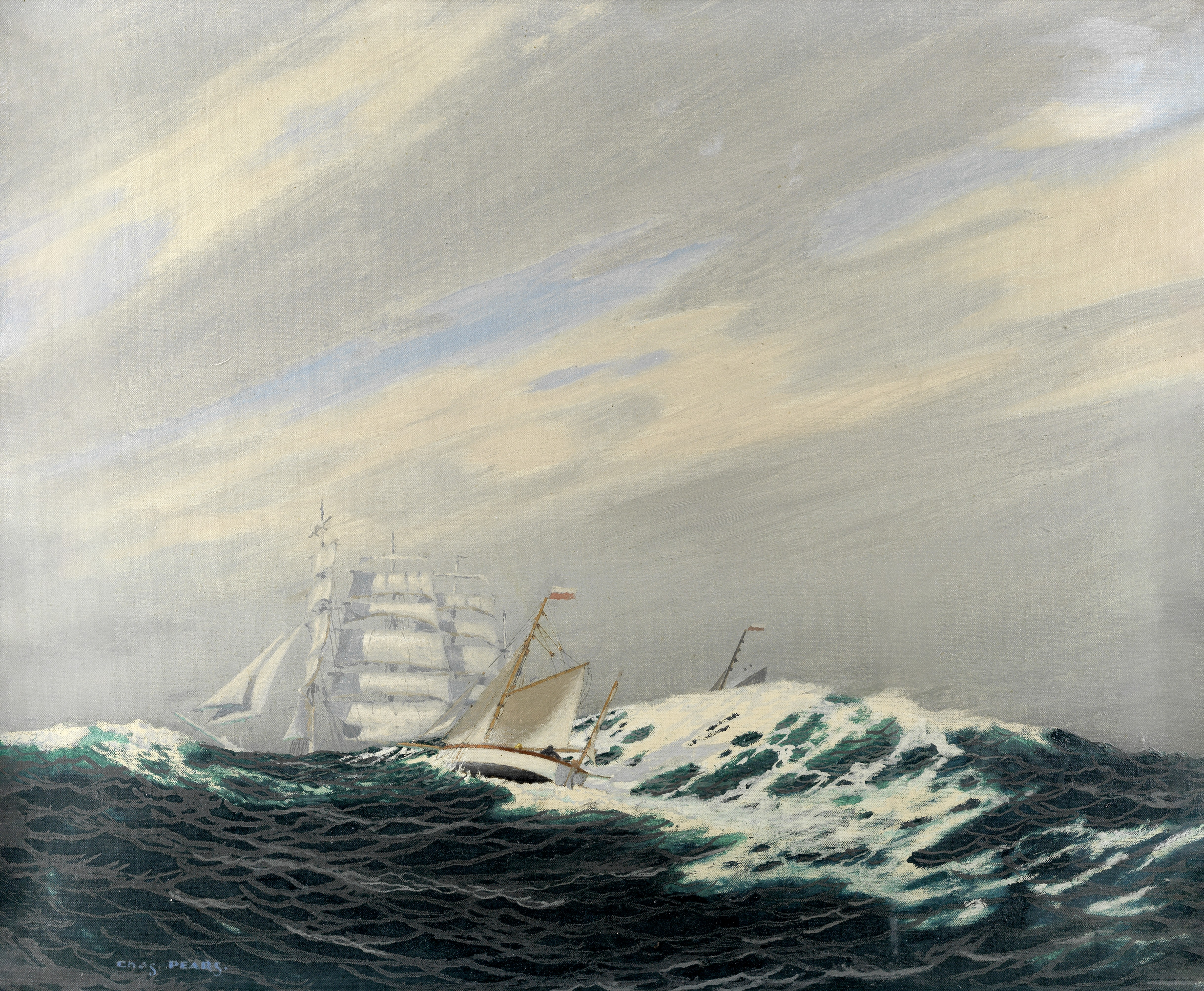 Charles Pears, RSMA (British, 1873-1958) A cutter in a heavy swell, a four-masted barque beyond