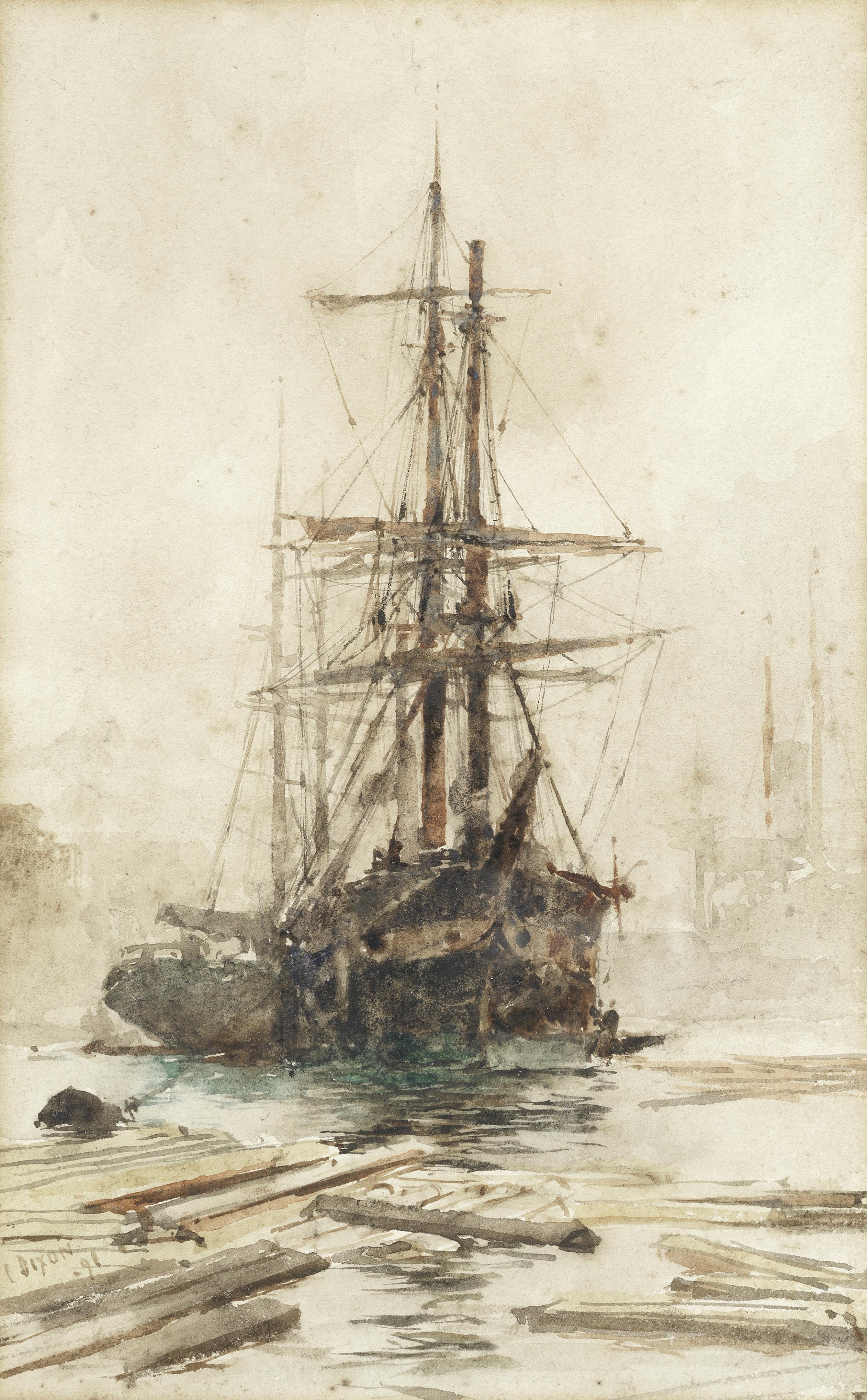 Charles Edward Dixon (British, 1872-1934) Shipping on the Thames, a pair (2)