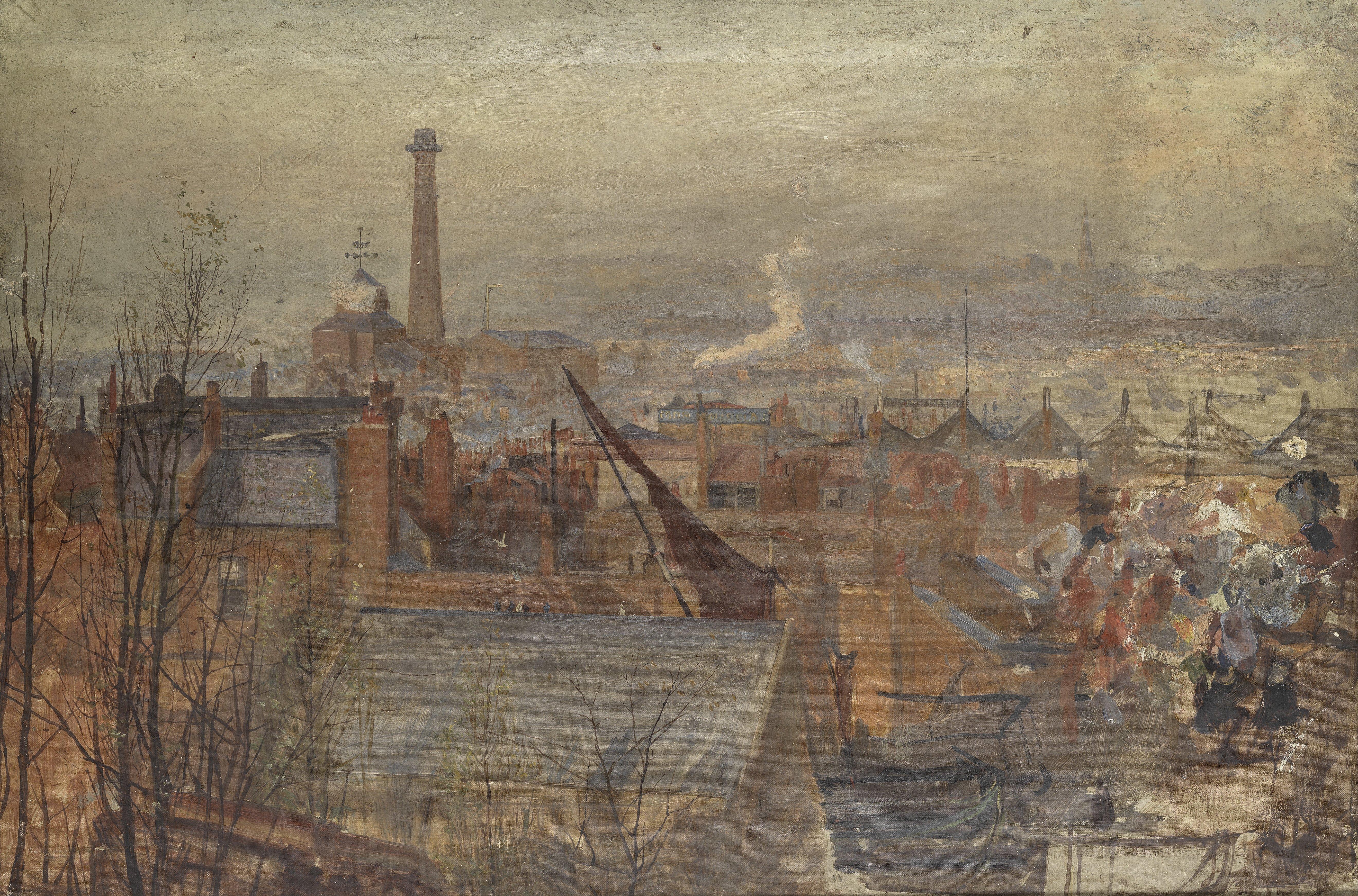 William Lionel Wyllie, R.A. (British, 1851-1931) Beckton Gas Works, an unfinished work