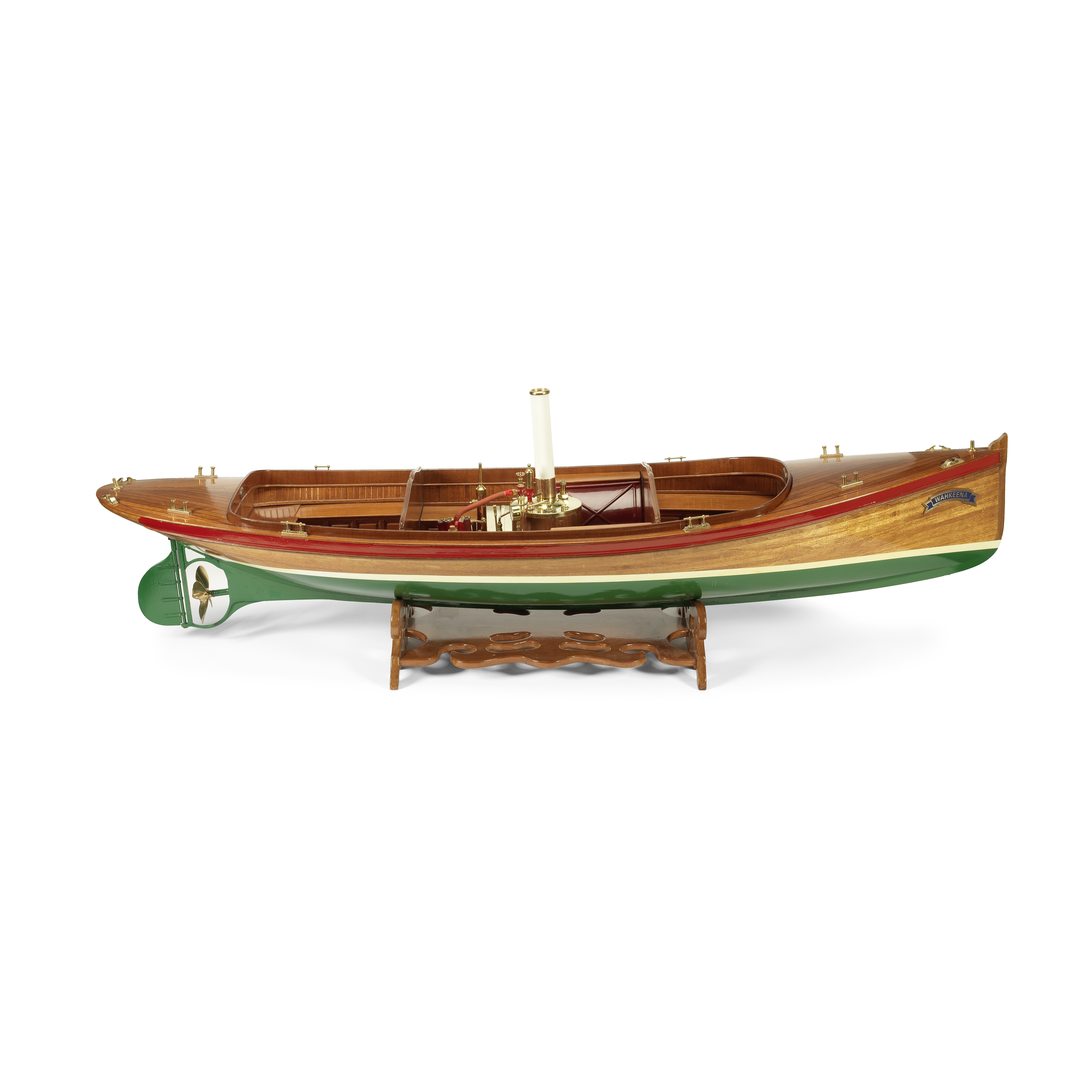 A Remote-Controlled Scale Model of the Steamboat 'Wahkeena', 20th century, the model 53 1/2in (13...