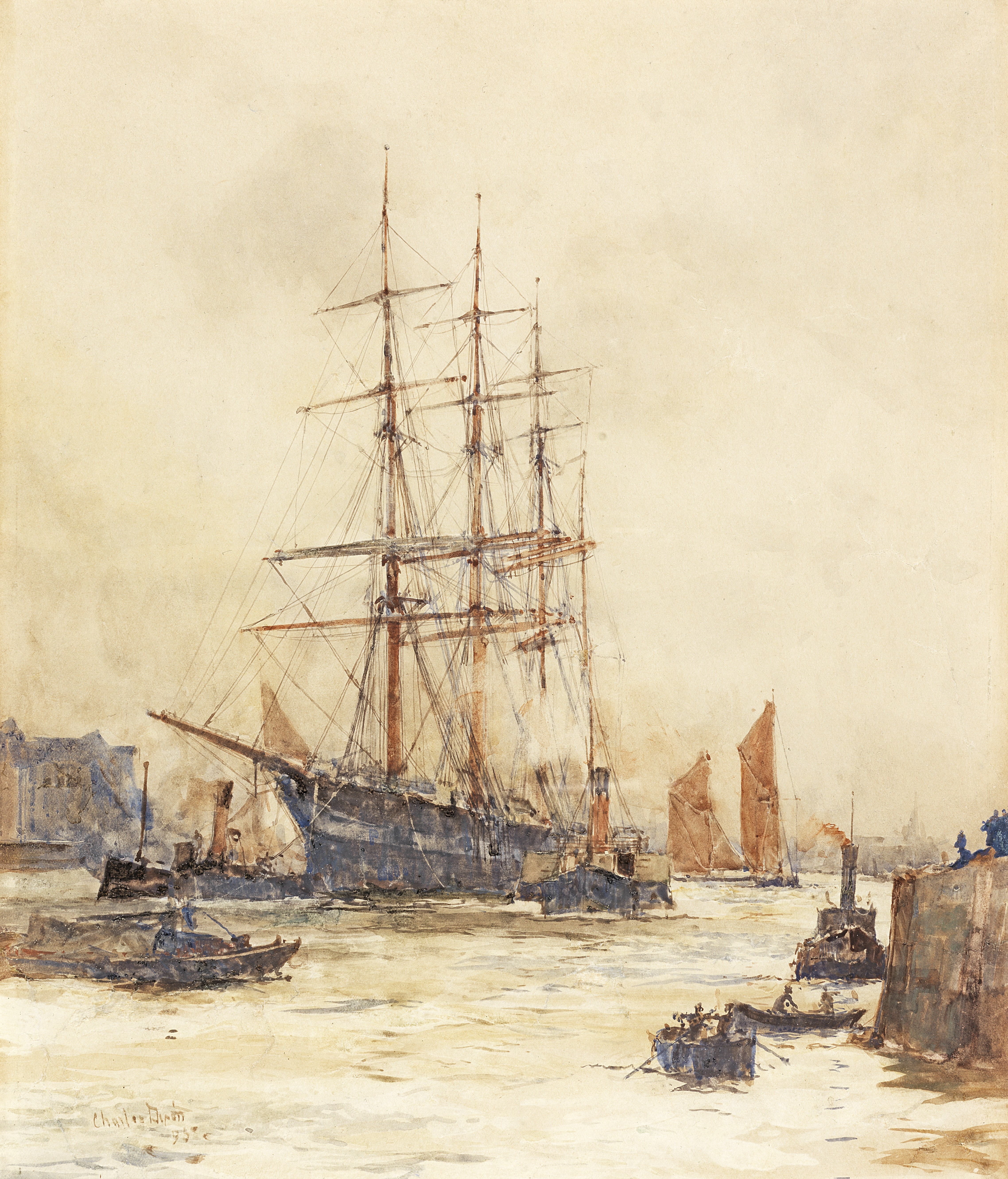 Charles Edward Dixon (British, 1872-1934) Shipping on the Thames, two works the first 28.8 x 24.5...