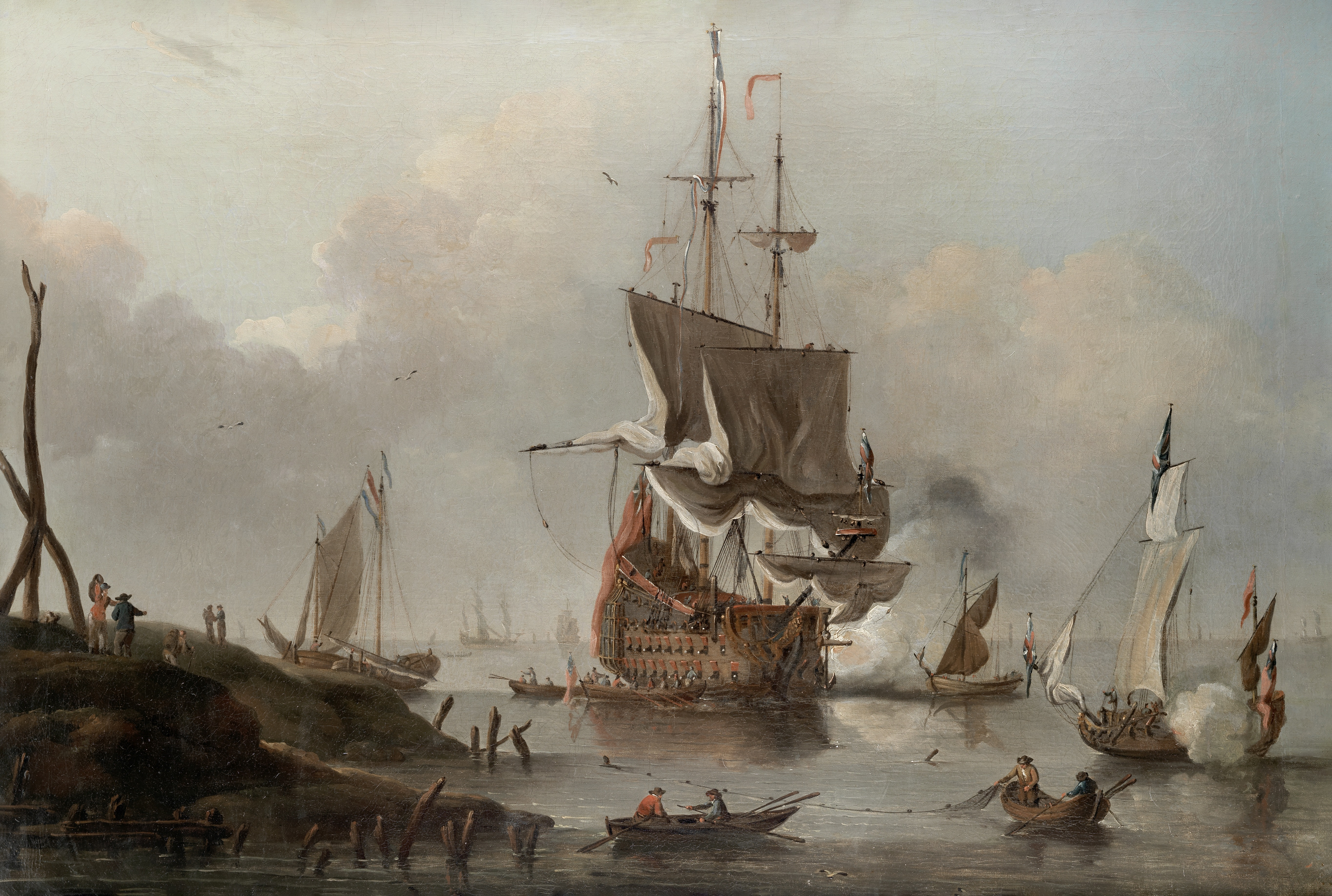 Peter Monamy (London 1681-1749) The venerable HMS Eagle making ready to sail from her offshore an...