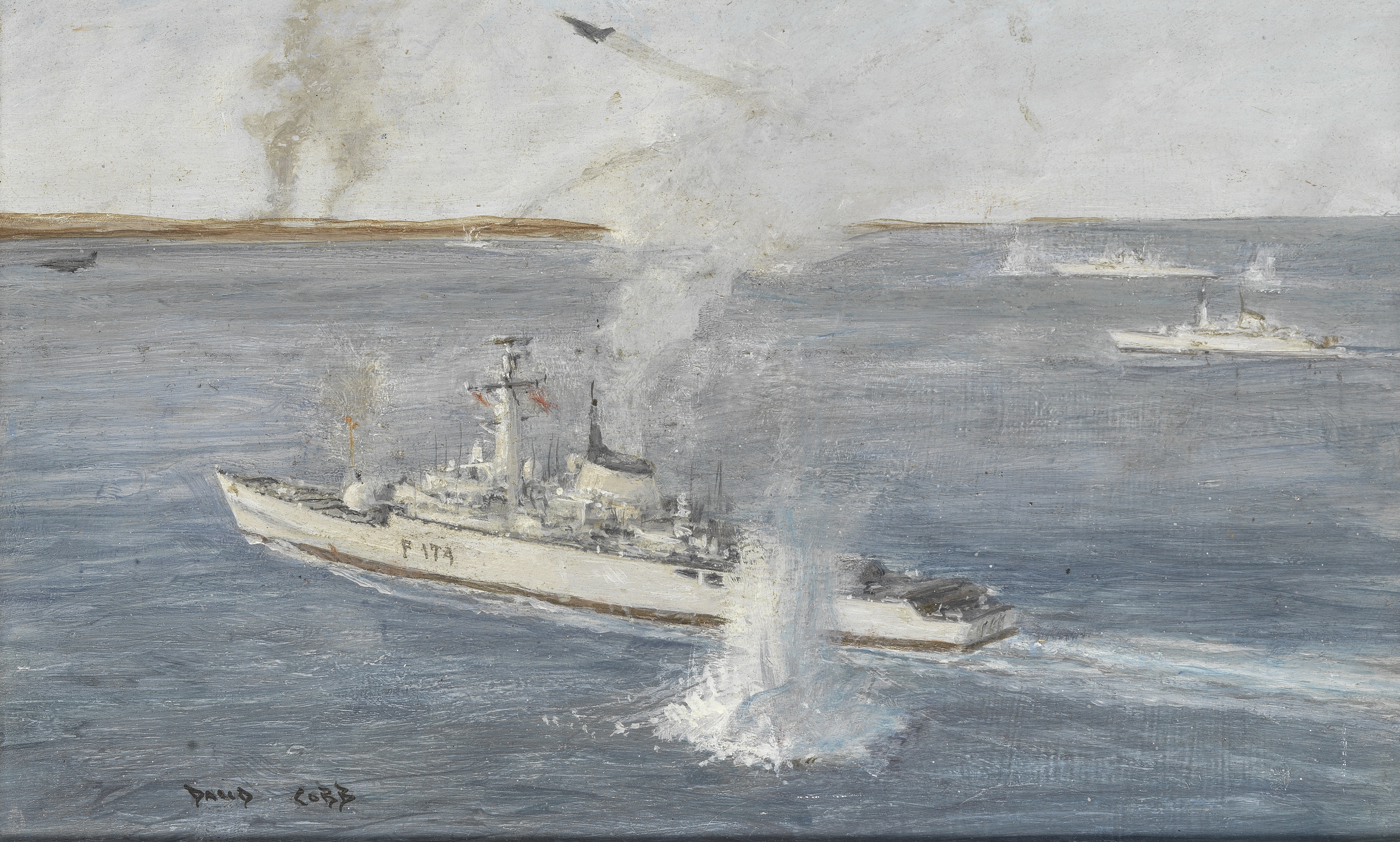 David Cobb (British, 1921-2014) The Falklands War: HMS Alacrity under fire and a view with smould...